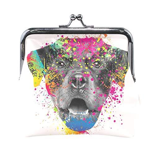 TKKORA Watercolor Labrador Dog Giraffe Cute Leather Buckle Coin Purse Clutch Pouch Wallet Card Holder Handbag, for Woman Girl.