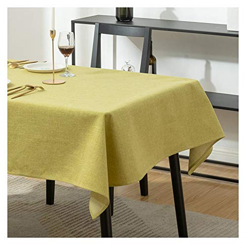Linen Retro Solid color Oblong Tablecloth,Anti-fading Table Cover Antibacterial Anti-wrinkle Piano Dust Cloth Home Decor Kitchen, Dining Room,Courtyard,Cafe,Party,Picnic ,Yellow,85X85cm(33x33inch)