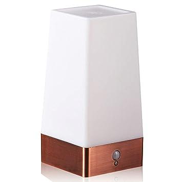 TANQI Lámparas De Mesa Cálida Lámpara De Escritorio del Sensor De Movimiento Inalámbrico Blanco Iluminación Dormitorio