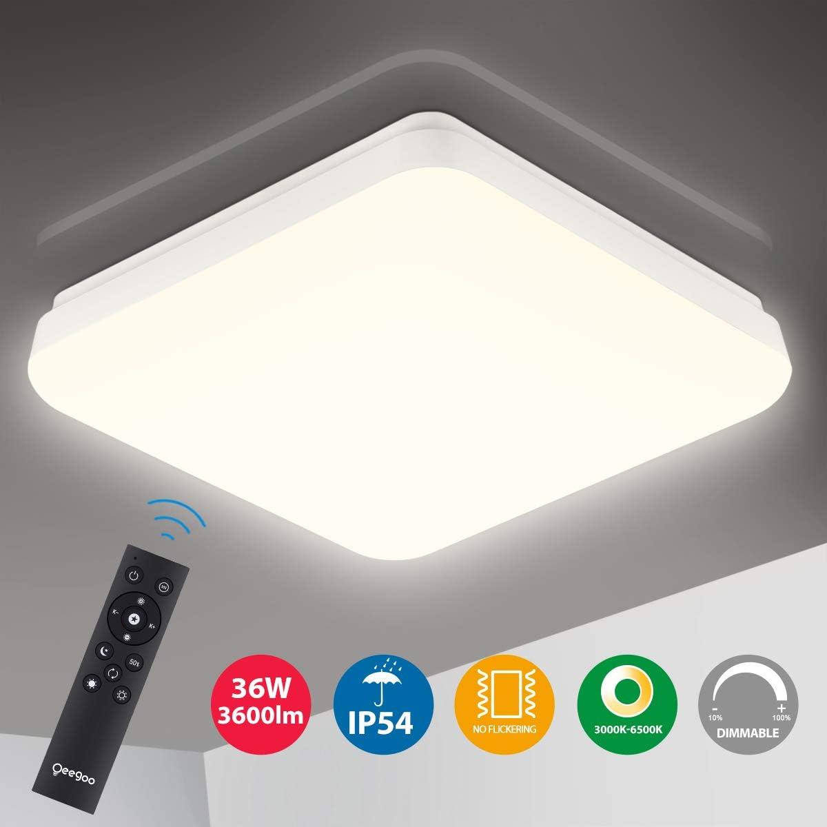 Oeegoo LED Deckenleuchte dimmbar Farbtemperatur und Helligkeit einstellbar 24W 2400Lm LED Deckenlampe mit Fernbedienung IP54 Wasserfest Flimmerfreie LED Lampe Wohnzimmer Kinderzimmer Schlafzimmer