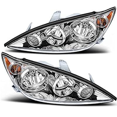 AUTOSAVER88 Headlight Assembly Compatible with 2005-2006 Toyota Camry LE SE XLE Chrome Housing with Amber Reflector Clear Lens: Automotive