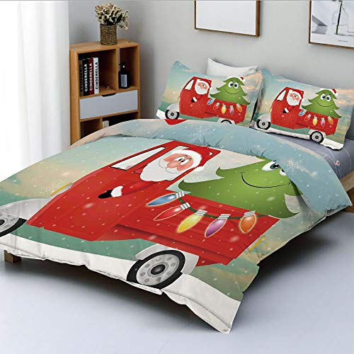 Duplex Print Duvet Cover Set King Size,Santa in Red Vintage Truck with Fun Cartoon Xmas Tree and Colorful Fairy Lights PrintDecorative 3 Piece Bedding Set with 2 Pillow Sham,Multi,Best Gift For Kids &]()