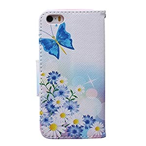 """iPhone 6S Case, Firefish iPhone 6 Wallet Case [Bumper] [Kickstand] PU Leather with TPU Double Protection Flap Cover for Apple iPhone 6/6S 4.7"""" - Blue Butterfly"""