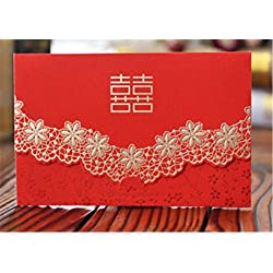 Skyseen 25Pcs Chinese Red Double Happiness Wedding Invitation Card Floral Party Decoration Chinese Mariage Cards