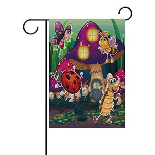 AGONA Cartoon Bee Ladybug Insects Mushroom Garden Flag 28 x 40, Outdoor Vertical Double Sided Yard Flags Seasonal Holiday Decorative House Flag for Garden Decor Party Housewarming Gift Hostess Gift from AGONA
