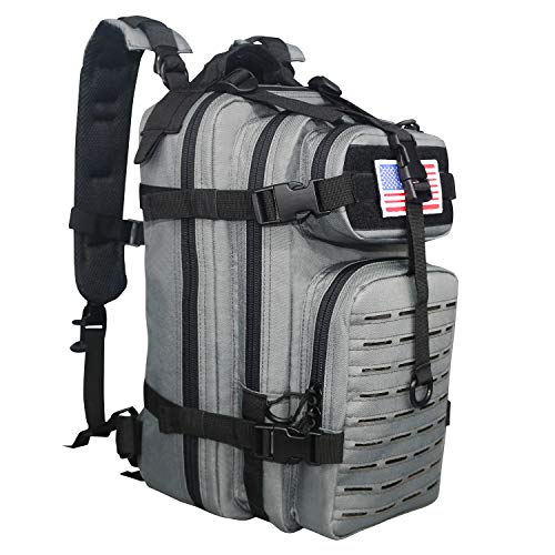 WolfWarriorX Small Assault Backpack 26L Military Tactical Pack Expandable Backpacks Outdoor Hiking Rucksack Pack MOLLE System Bag Daypack for Men, Women (Grey Black) (Best Tactical Backpack 2019)