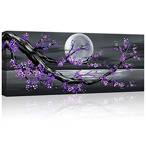 KLVOS Framed Abstract Tree Painting Cherry Blossom Purple Flower Canvas Art for Modern Home Wall Decoration Giclee Prints on Canvas Stretched Ready to Hang 20