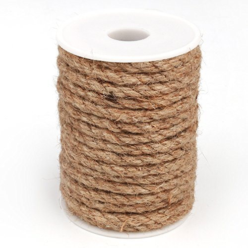 Z-COLOR 32Feet 2 Shares Rope Natural Jute Twine Cord DIY Decorative Handmade Accessory Hemp Jute Rope For Gift Box/Plant/Garden (6MM)