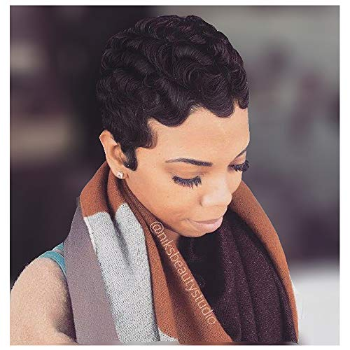 Black Wine 100% Human Hair Finger Wave Wig, Sissi's Fashion Hair Pixie Cut Wig Big Curls Short Remy Hair Wig Water Wave Mommy Wig for Fashion Women (1B)