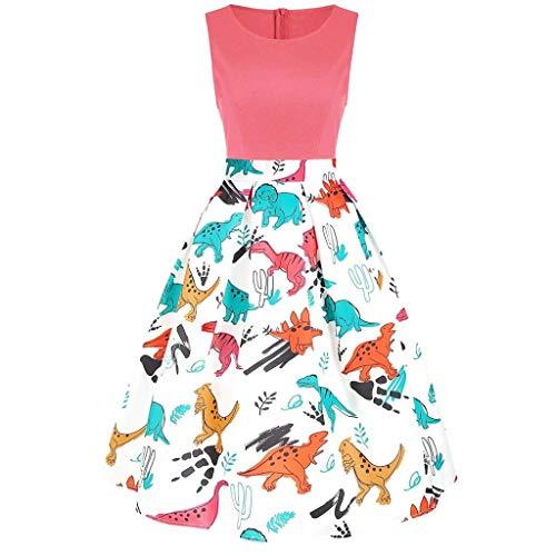 - COPPEN Women Dresses Vintage Sleeveless Ladies Dress Printed Dinosaur Tunic Tank Dress White