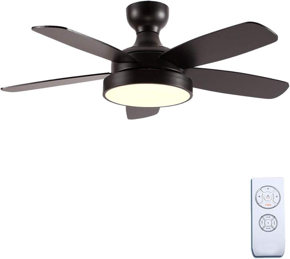 Ventilador techo con luz Estilo Europeo Sala Dormitorio Ventilador lámpara Interior silencioso Ventilador luz Interruptor de Control Remoto (Color : Black, Size : 107 * 35cm): Amazon.es: Hogar