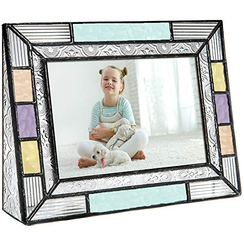 - J Devlin Pic 372-46H Colorful Stained Glass Picture Frame Tabletop 4 x 6 Photo Aqua Blue Peach Purple Colorful Home Decor