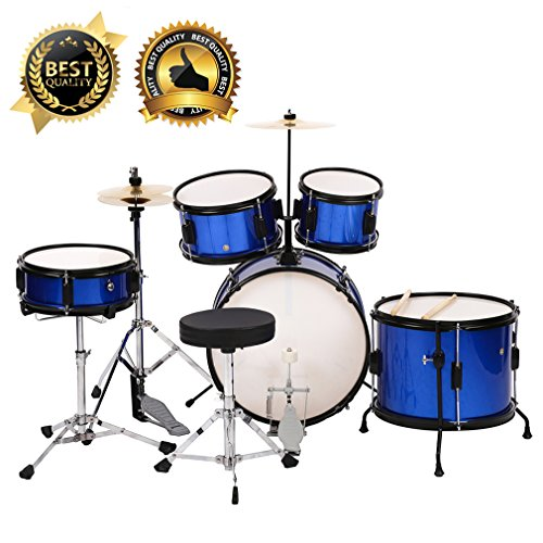 BestMassage Drum sets Kids Children Complete 5-Piece Junior Drum with Adjustable With Blue