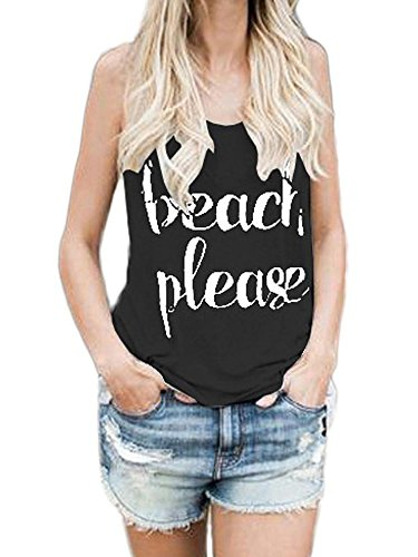 Sleeveless T-shirt Ringspun (Beautife Womens Tank Tops Summer Sleeveless Casual Crewneck Funny Short Tee T Shirt)