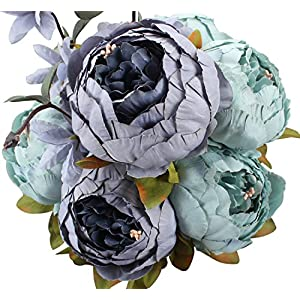 Duovlo Fake Flowers Vintage Artificial Peony Silk Flowers Wedding Home Decoration,Pack of 1 (New Grey Blue) 6