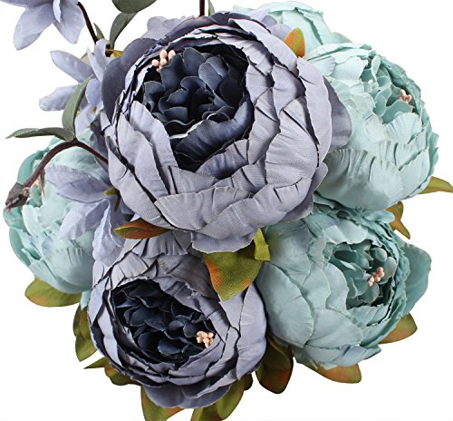 Duovlo Fake Flowers Vintage Artificial Peony Silk Flowers Wedding Home Decoration,Pack of 1 (New Grey Blue) (Dust Flower)