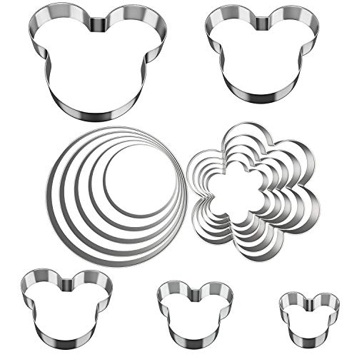 Stainless Steel Sandwiches Cutter, Ouddy Mickey Mouse & Flower Round Circle Shaped Cookie Cutters, Food Grade Metal Biscuit Cutter for Kids Suitable for Cakes and Cookie]()