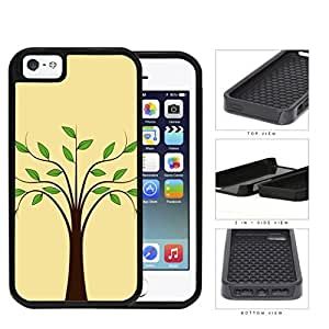 Plain Tree With Green Leaves 2-Piece Dual Layer High Impact Rubber Silicone Cell Phone Case Apple iPhone 5 5s