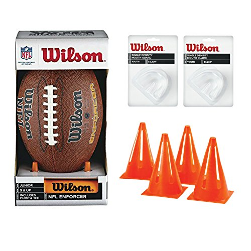 Wilson NFL Junior Football with Pump & Tee Bundle with 2 Wilson Youth Size Mouth Guard and 4 Mitre Safety Cones - K2 Leather Football
