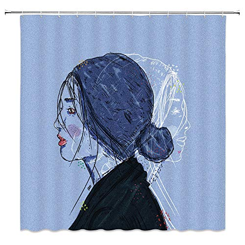 (Lileihao Hand Painted Woman Portrait Shower Curtains Bathroom Decor Waterproof Polyester Fabric Home Bath Decor Supplies Shower Curtain Set Machine Washable 69 x 70 Inch Include Hooks)