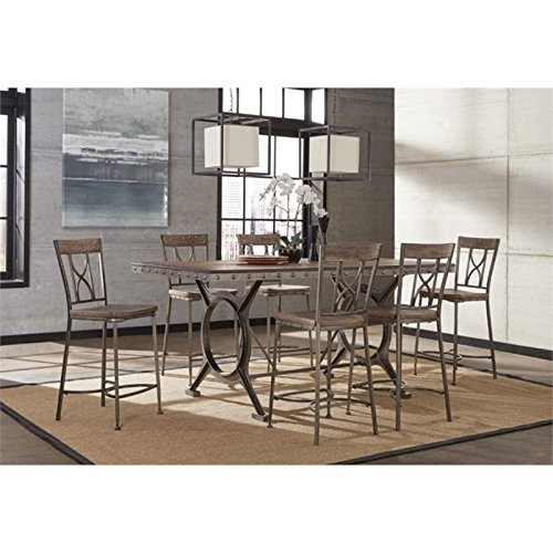 Bowery Hill 5 Piece Counter Height Dining Set in Brown and Gray