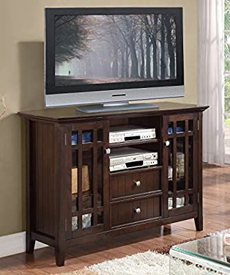"Simpli Home Bedford TV Media Stand for TVs up to 60"", Dark Tobacco Brown"