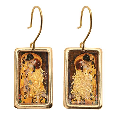 Women's Gustav Klimt/Vincent Van Gogh Gold-Flecked Earrings - The Kiss