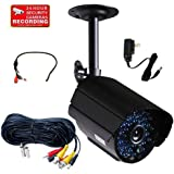 VideoSecu Outdoor Day Night Home CCTV Bullet Surveillance Security Camera IR-Cut Filter Switch 36 Infrared LEDs 520 TVL with Power Supply, and Video Power Extension Cable C6P