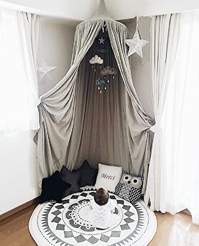 Children Bed Canopy Round Dome, Cotton Mosquito Net, Kids Princess Play Tents, Room Decoration for Baby Indoor Outdoor Playing (Gray) by Fangsi (Image #3)