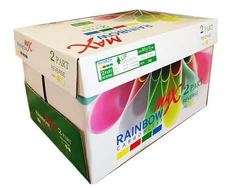 - 8.5 x 11 Rainbow Max Carbonless Paper, 2 Part Reverse, 2500 Sets, 10 Reams (for Offset Printing)