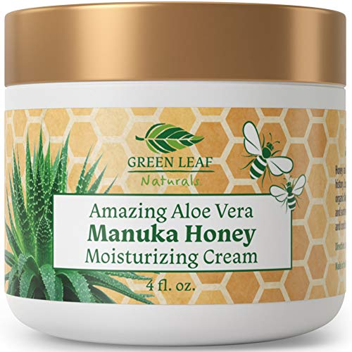 Amazing Aloe Vera Manuka Honey Moisturizing Cream for Face and Body - Gentle, Effective and Soothing for All Skin Types and Conditions - for Women, Men, Kids, Babies - by Green Leaf Naturals - 4 oz (Best Soothing Face Cream)