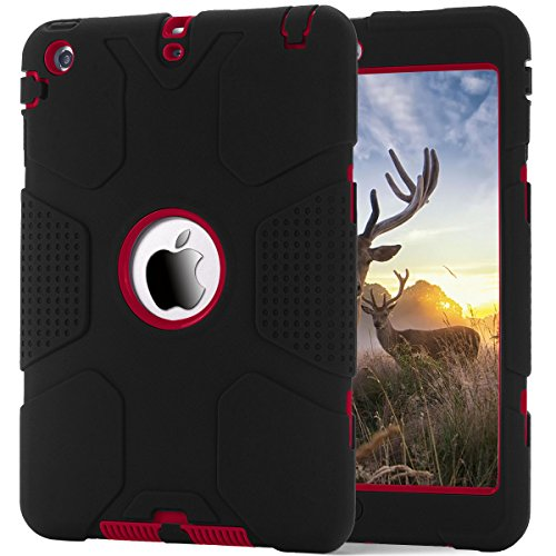 iPad mini/2/3 Case, Hocase Rugged Heavy Duty Shockproof Hybrid Silicone Rubber Bumpper+Hard Shell Protective Case for Apple iPad mini 1st genearation/2/3 - Black / Red