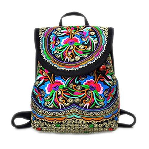 Bordados florales Mochila Vintage Bolso étnico niñas Dama única mujer mochilas escolares mochila de viaje bolsas tamaño grande amarilla yellow S size