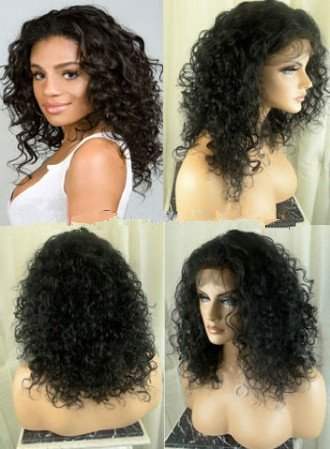 Hot sale!16''Kinky Curly Lace Front Brazilian Virgin Hair Wig 100% Human Hair Wigs with Baby Hair&Bleached Knots