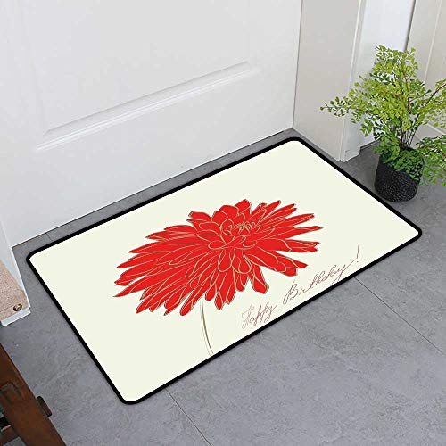 (Custom&blanket Boots Scraper Mat, Dahlia Non-Slip Doormats for Office, Sketching of a Colossal Dahlia Blossom Retro Style in Blood Red Colored Single Flower (Red Tan, H36 x W60))