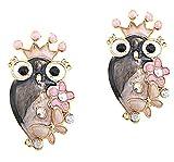DaisyJewel Autumn Iridescence Queen Owl Earrings