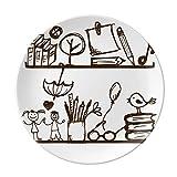 Children Cute Illustration Bookshelf College Dessert Plate Decorative Porcelain 8 inch Dinner Home