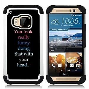 BullDog Case - FOR/HTC ONE M9 / - / You Look Funny /- H??brido Heavy Duty caja del tel??fono protector din??mico - silicona suave