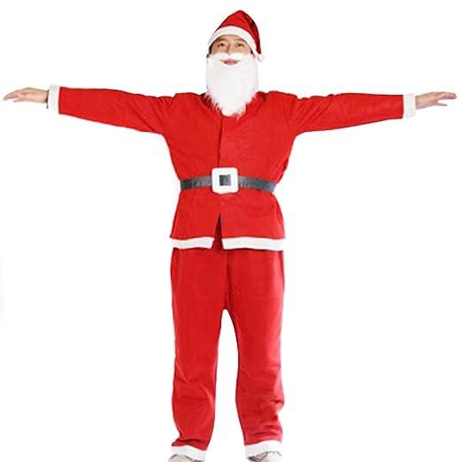 CerisiaAnn - Traje de Papá Noel, 5 Piezas, Unisex, Ajustable, Disfraz de Papá Noel de Navidad, Accesorio para Disfraz, Ropa de Cosplay de Navidad para ...
