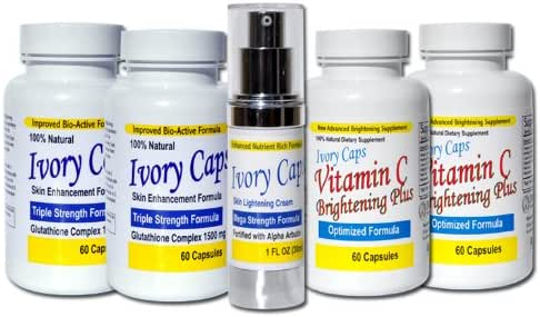 IvoryCaps System 2 (Advanced System) Skin Whitening Lightening Support Systems (Save $60.00))