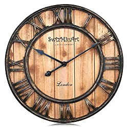 Large Wooden Wall Clock Farmhouse Rustic,Extra Large Vintage Antique Metal Mantel 3D Roman Numeral Silent No Ticking Wall Clocks Battery Operated for Home Decorative,Living room,Office(21 inch-Brown)