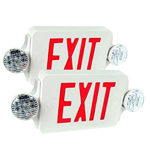 eTopLighting 2 Packs of LED Red Exit Sign Emergency Light Combo with Battery Back-Up UL924 ETL listed, ()