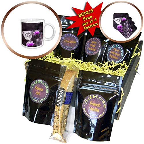 3dRose Sven Herkenrath Animal - Purple Flower Blossom with Butterfly Insect and Bokeh Art - Coffee Gift Baskets - Coffee Gift Basket (cgb_294950_1)