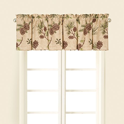 C&F Home Woodland Retreat Pinecone Cotton Valance Set 2 Valance Set of 2 Brown