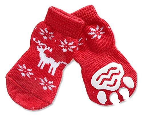 C-Pioneer Christmas Snowflake Pet Dog Puppy Cat Non-Slip Skid Cotton Blended Socks 4pcs/set (M, Little Fawn) - Hardwood Fawn