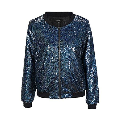 IRISIE Women Sparkle Sequin Lightweight Long Sleeve Zipper Up Jacket(XXL,Blue)