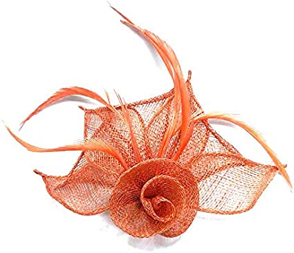Large Orange Headband /& Clip Hat Fascinator Weddings LadiesDay Race Royal Ascot