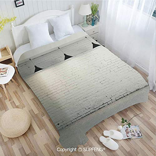Camping Blanket Brick Concrete Room with Three Ceiling Lamps Modern Minimalistic Home Decoration(W31.5xL47.3 inch ) Easy Care Machine Wash for Bedroom/Living Room/Camping etc