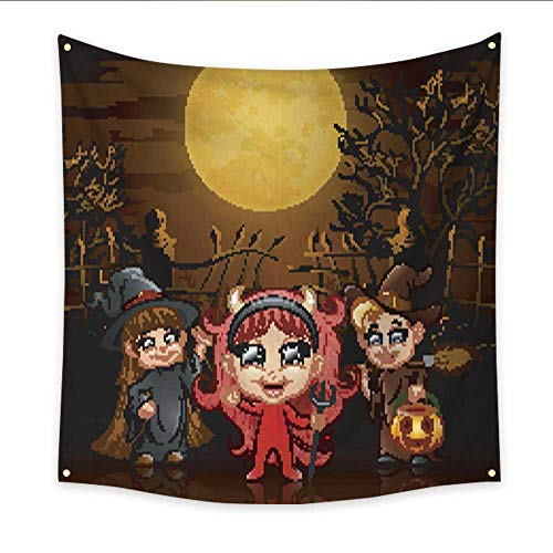 Anniutwo Tapestry for Teen Girls Happy Little Kids Wearing Costume Halloween in Graveyard Bedspread Dorm Accessories Decor 70W x 70L Inch -