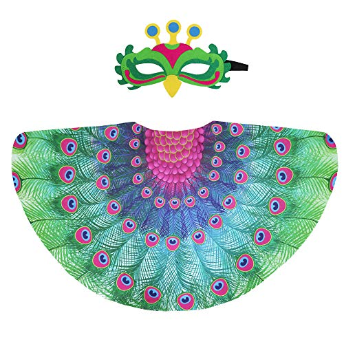 Kids Fairy Bird Costume Peacock Wings and Mask for Girls Boys Dress-Up Feathered Party Favors (Green)]()